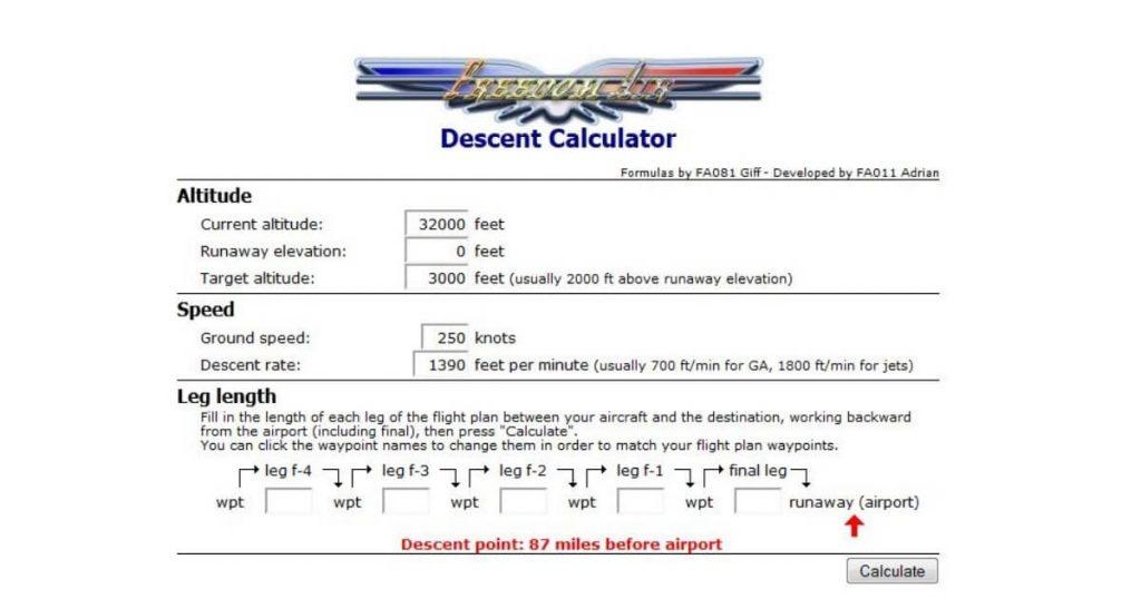 Formula per calcolare la distanza per la corretta discesa in modo facile